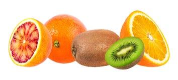 Isolated citrus fruits. Orange and kiwi isolated on white Stock Photos