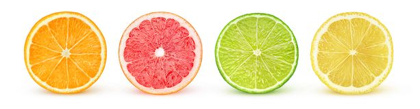 Isolated citrus halves Stock Image