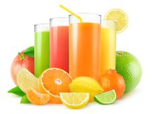 Isolated citrus juices royalty free stock photo