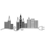 Isolated city buildings and plug design. Ctiy building and plug icon. Architecture urban modern and metropolis theme. Isolated design. Vector illustration Stock Photo