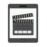 Isolated clapboard and tablet design. Clapboard and tablet icon. Movie film video cinema and entertainment theme. Isolated design. Vector illustration Royalty Free Stock Images