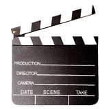 Isolated clapperboard, closeup shot. Clapperboard isolated over white background Royalty Free Stock Image