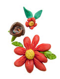 Isolated clay flowers Stock Photo