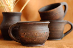 Clay pottery cups Royalty Free Stock Photography