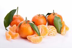 Isolated clementine. Isolated ripe clementine and leaf stock image