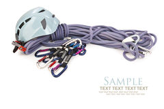 Isolated climbing equipment Stock Images