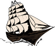 Isolated Clipper Ship Royalty Free Stock Photography