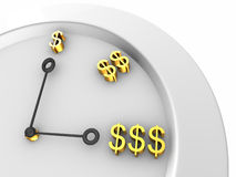 Isolated clock with dollars on white Royalty Free Stock Image