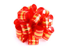 Isolated close-up red and gold bow Royalty Free Stock Photography