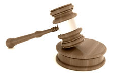 Isolated close up on wooden judge gavel Royalty Free Stock Photography