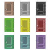 Isolated closed door drawing color set  Royalty Free Stock Photos