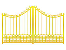 Isolated closed golden gate fence on white vector Royalty Free Stock Images
