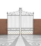 Isolated closed iron gate in strong brick wall Stock Photos