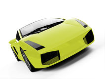 Isolated closeup sportcar view. Isolated closeup sport car on a white background Stock Photography