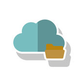 Isolated cloud computing design. Cloud with file icon. Cloud computing storage technology and virtual theme. Isolated design. Vector illustration Stock Image