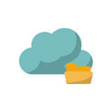 Isolated cloud computing design. Cloud with file icon. Cloud computing storage technology and virtual theme. Isolated design. Vector illustration Stock Photography