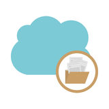 Isolated cloud computing design. File and cloud computing icon. Storage technology and virtual theme. Isolated design. Vector illustration Stock Photos