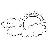 Isolated clouds and sun design Stock Photo