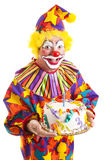Isolated Clown with Birthday Cake royalty free stock photo