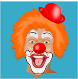 Isolated clown head. Isolated male clown head on blue background stock illustration
