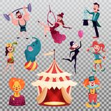 Isolated clown and magician near circus tent or camp vector illustration