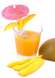 Isolated cocktail with mango juice and mango slices Royalty Free Stock Image