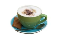 Isolated coffee. An isolated cappucino with trendy colors, clipping path included stock images
