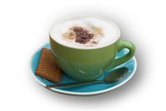 Isolated coffee. An isolated cappucino with trendy colors, clipping path included royalty free stock image