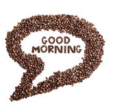 Isolated Coffee Bean Thought Bubble with Phrase Good Morning. Over white background royalty free stock photos