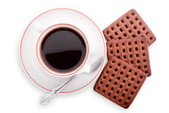 Isolated coffee cup and cookies. Top view of cup and cookies Stock Image