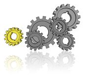 Isolated cogwheels Stock Photos