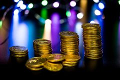 Isolated coins, golds royalty free stock photography