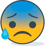 Isolated cold sweat emoticon. Isolated emoticon. Stock Image