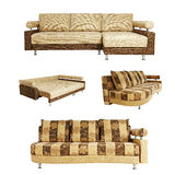 Isolated collage of sofa over white Royalty Free Stock Photos