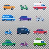 Isolated collection of different cars like ambulance and post minivan. Fbi automobile and classic family sedan, motorcycles or gas minibikes assortment for vector illustration