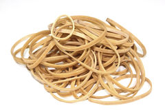 Isolated Collection of Elastic Bands Stacked in a Heap Royalty Free Stock Photos