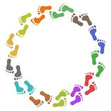 Color feet around. Isolated color feet around with copy space on white background Royalty Free Stock Photography