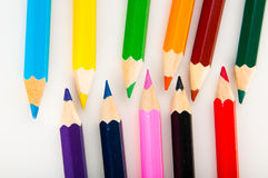 Isolated color pencils, vivid composition Royalty Free Stock Photos