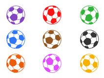 Color soccer ball icons set Royalty Free Stock Photo