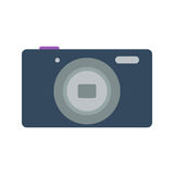 Isolated colored black compact digital camera on white background. Flat design icon. Isolated colored black compact digital camera on white background. Flat Royalty Free Stock Photography