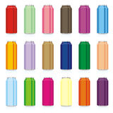 Isolated colored cans. Vector illustration of different isolated colored cans Royalty Free Stock Photos
