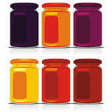 Isolated colored jam jars set Royalty Free Stock Photo