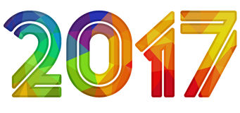 Isolated colored number 2017 Stock Photo