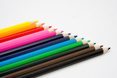 Isolated colored pencil arrangement. Pic Stock Photo