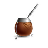 Isolated colored realistic brown calabash for yerba mate, paraguay tea with prop and metal syphon stick bombilla with shadow on wh. Ite background Royalty Free Stock Images