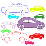 Isolated colored silhouettes cars. Vector. Illustration Royalty Free Stock Photography