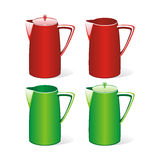 Isolated colored tea jugs Stock Image