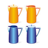 Isolated colored tea jugs set Royalty Free Stock Images