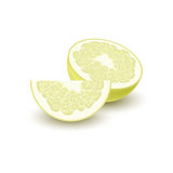 Isolated colored yellow slice and half of juicy pomelo with shadow on white background. Realistic wedge citrus fruit. Isolated colored yellow slice and half of Royalty Free Stock Photo