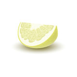 Isolated colored yellow slice of juicy pomelo with shadow on white background. Realistic wedge citrus fruit. Isolated colored yellow slice of juicy pomelo with Stock Images